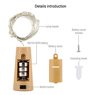 Aluan Wine Bottle Lights with Cork Christmas Lights 15 LED 10 Pack Fairy Lights Waterproof Battery Operated Cork String Lights for Jar Party Wedding Christmas Festival Bar Decoration, Warm White: Home & Kitchen
