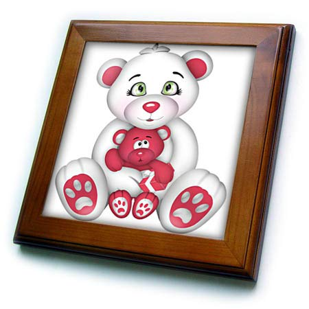 3dRose Anne Marie Baugh - Illustrations - Cute Pink and White Mama Bear with Baby Bear Illustration - 8x8 Framed Tile (ft_317995_1)