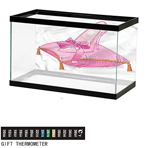 Suchashome Fish Tank Backdrop Princess,Glass Shoe on Pink Pillow,Aquarium Background,24