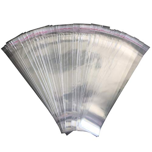 Pretzel Bag 200 PCS Pretzel Rod Bags 2 x 10.8 INCH Self Adhesive Bag Clear Cellophane Bag Flat Treat Bags for Donut Bars (2 x 10.8 INCH)]()
