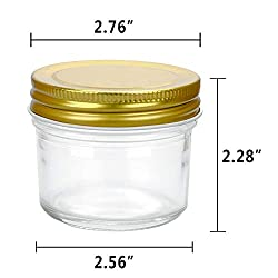 Encheng 4 oz Clear Glass Jars With Lids(Golden),Sm