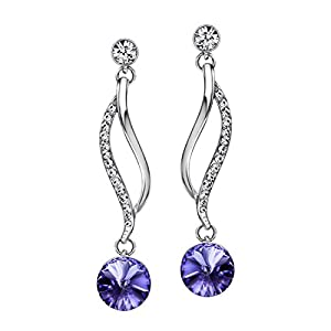 NEOGLORY Jewelry Crystal Wedding Drop Earrings 5 Colors 2″ Embellished with Crystals from Swarovski