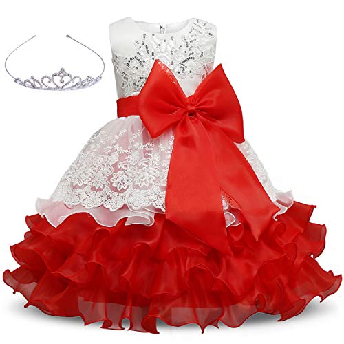 Girls Dress Bowknot Embroidered Princess  Party Holiday Dresses With Accessories Age Of 5-6 Years(Red) -