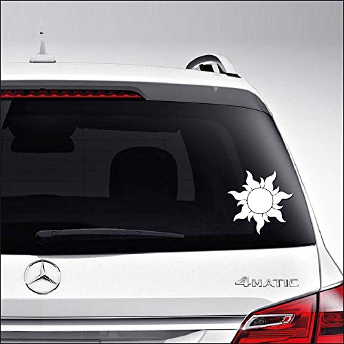 Aampco Decals Golden Sun Tangled Car Truck Motorcycle Windows Bumper Wall Decor Vinyl Decal Sticker Size- [6 inch/15 cm] Wide/Color- Matte White