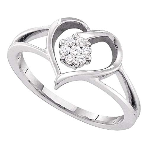 Jewels By Lux 10kt White Gold Womens Round Diamond Heart Flower Cluster Ring 1/12 Cttw In Cluster Setting (I2-I3 clarity; I-J - Cluster Heart Ring Diamond
