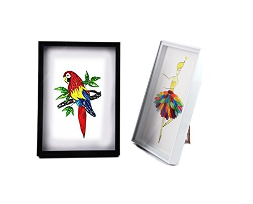 YURROAD 11''x8.5'' A4 Photo Frame for Paper Quilling Crafts Handmade Artworks Display on Desktop or Hang (Black and White, 2 Pack) by YURROAD (Image #7)