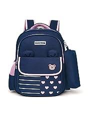 Kids Shoulders Student School Backpack Book Bag Laptop Backpack Outdoor Travel Bag Child Daypack Primary Student School Bag TXOZ (Color : Blue+Pink)
