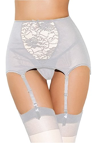 Corset Thong Garters (Lady Swain Women's Sexy Plus Size High-Waisted Lace Hollow-Out Garter Belt (XXL, White))