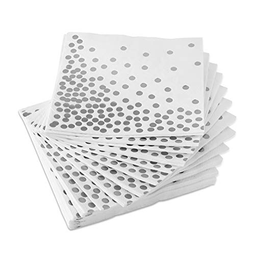 Silver Napkins (50 Pack) White 3-Ply Paper Napkins with Silver Foil Polka Dots Perfect for Lunch, Cocktail, Wedding, Birthday Party, Baby Shower and Holiday Celebration - Silver Dot Disposable Napkins 3 Ply Paper Napkin