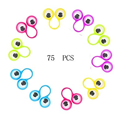 Haiabei 75 Pcs Eye Finger Puppets Googly Eyes Rings Eyeball Ring Party Favor Toys for Kids,Color Random: Toys & Games