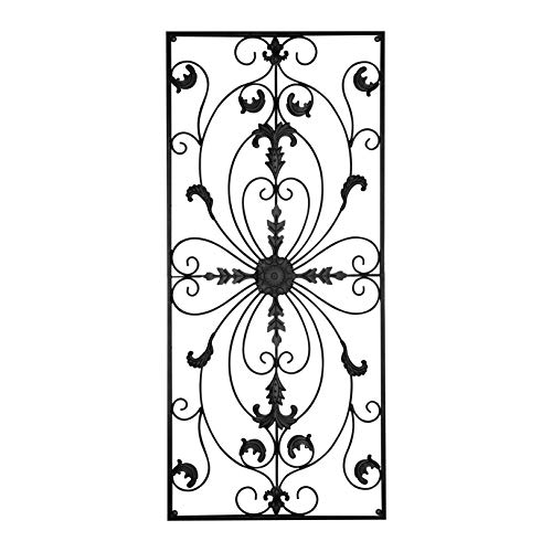 gbHome GH-6778 Metal Wall Decor, Decorative Victorian Style Hanging Art, Steel Décor, Rectangular Design, 19.7 x 44 Inches, (Black Framed Plaque)