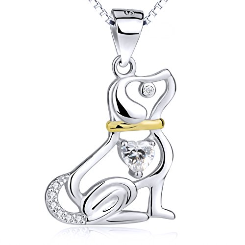YFN Sterling Silver Animal Puppy Pet Dog Love Heart Cubic Zirconial Pendant Necklace 18