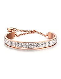 Stainless Steel 8mm Width 3 Row of Crystal Rhinestone Pave Cuff Bangle Bracelets with Extend Chain