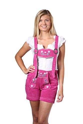 Damen Trachten Lederhose Damenhose mit Trägern aus feinstem Veloursleder in rosa, Bayrische Trachtenlederhose für das Oktoberfest Größe 34, 36, 38, 40, 42, 44, 46