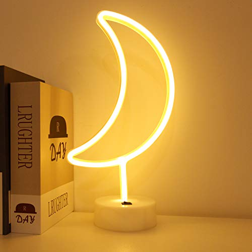 BHCLIGHT Neon Signs LED Moon Neon Lights with Holder Base Battery Operated Bedside Table Lamps for Room Decor(Warm White)
