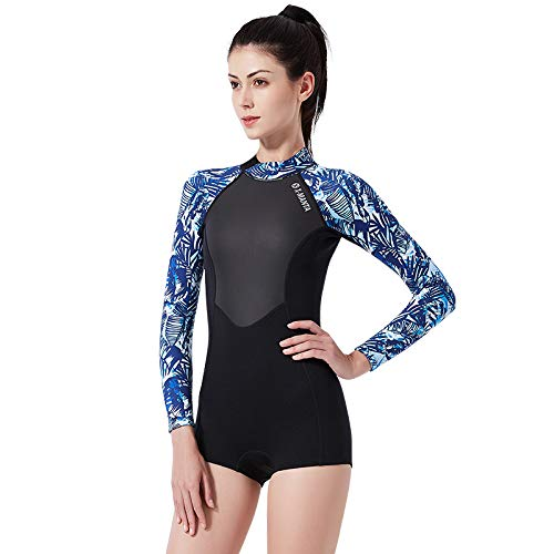 JASZHAO 1.5MM Néoprène Wetsuit Femmes Chaud Wetsuit Manches Longues Bikini Wet Suit pour Surfer,bleu,S