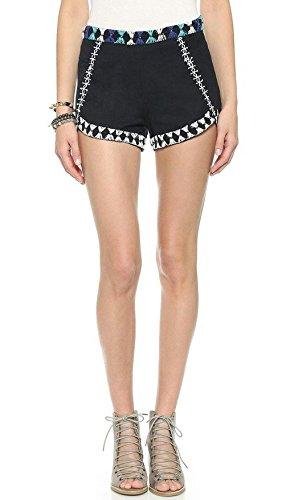 Free People Women's Petal Embellished Shorts, Black Combo 8 X 2.5