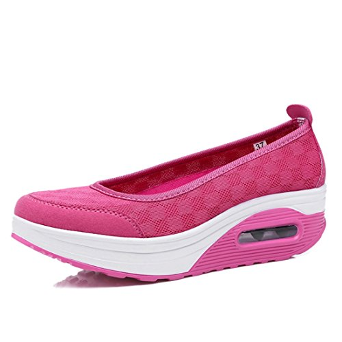 Walking Rose Womens Red Fitness Casual Comfortable Toning Jiyaru Athletic Shoe On Breathable Slip pPwwYdq