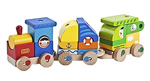 Wooden Train Set - Toddler's Magnetic Stacking Cargo Train Toddler Toys - Hand Painted Train Toy