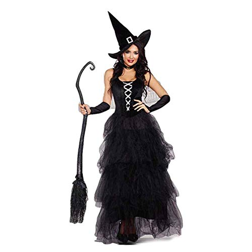 Neilyoshop Women's Witch Costumes Halloween Black Wicked Witch Adult Dress