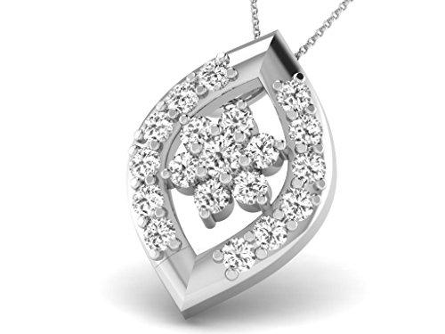 Or Blanc 18 ct Pendentifs Diamant en forme de marquise, 0.32 Ct Diamant, GH-SI, 0.9367 grammes.