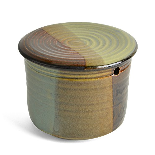Holman Pottery French Butter Keeper, Green Earth Glaze