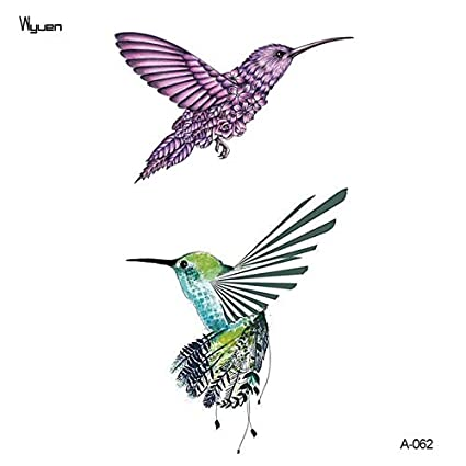 HXMAN 3 Unids Pájaro Flor Tatuaje Falso Para Adulto Original ...