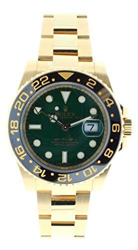 Rolex Mens Unused 116718 GMT Master 2 Green Dial Ceramic Bezel 18k Yellow Gold Oyster -