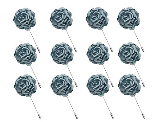 ZAKI L'vow Multiflora Flower Brooches for Wedding Lapel Pin Boutonniere Pack of 12 (Denim Blue)