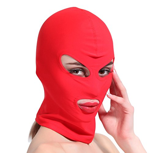 HOT TIME Unisex Lycra Spandex Zentai Hood Mask (L-Large, Red-Open Eyes Mouth)]()