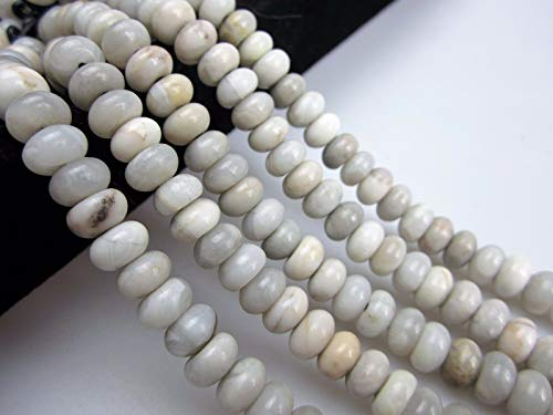 - Bead Jewelry Making 2.0mm Large Hole White Agate Smooth Rondelle Loose Beads 8'' Long 6x10mm