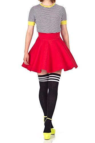 Fancy Retro High Waist A-line Flowing Full Flared Swing Circle Skater Short Mini Skirt (L, Red)