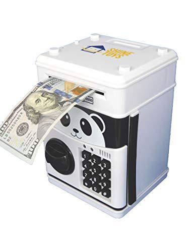 - Shine-toys Cartoon Electronic Password Auto Scroll Paper Money Piggy Bank Cash Coin Can (White)