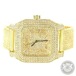 Techno Pave Watch Yellow Gold Finish Lab Diamonds Mens Party Wear