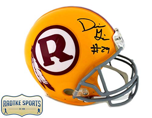 Throwback Redskins Helmet Authentic - Derrius Guice Autographed/Signed Washington Redskins Throwback Authentic Helmet