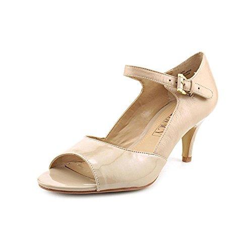 Ellen Tracy Faith Womens Size 7.5 Nude Peep Toe Leather Pumps Heels Shoes