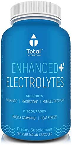 Electrolyte Capsules, Natural Replacement Rehydration Salts W/Magnesium, Zinc, Calcium & Sodium, Aids Rapid Rehydration & Recovery from Exercise While Preventing Cramps, 100 Hydration Tablets
