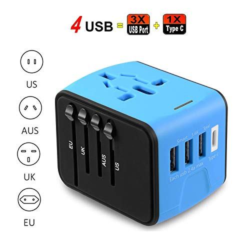 Universal Travel Adapter All in One Worldwide Power Adapter Wall Outlet Plugs Converter with 2.4A USB and 3.0A USB Type-C Charger for Europe UK EU US AU Asia Blue -