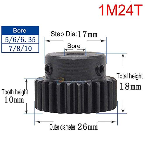 High Precision 1 Mod 24T Spur Gear 45# Steel Heavy Duty Pinion Gear 8mm Bore With Step x 1Pcs (Bore: 8mm; Step Diameter: 17mm, 1M24T)