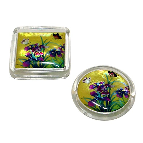 Set of 2 Mother of Pearl Yellow Orchd Flower Square Round Re