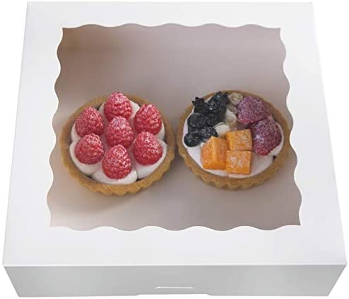 ONE MORE 9inch White Cookie Bakery Boxes,Large Kraft Pie Boxes with PVC Window Natural Disposable box 9x9x2.5,Pack of 12