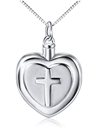 925 Sterling Silver Cross Heart Urn Pendant Memorial - Ashes Keepsake Exquisite Cremation Necklace