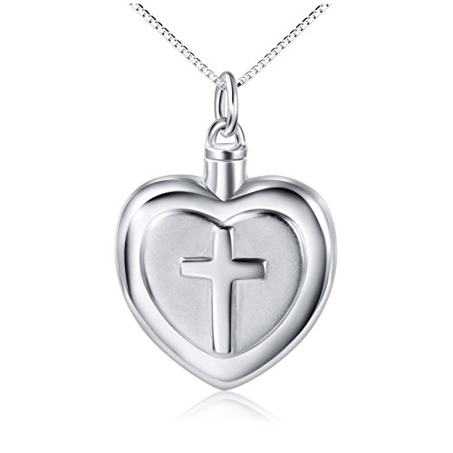 - 925 Sterling Silver Cross Heart Urn Pendant Memorial - Ashes Keepsake Exquisite Cremation Necklace