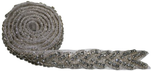 The Buckle Boutique Rhinestone Hand Beaded Braid Trim Embellishments, 1-Yard - Beaded Braids