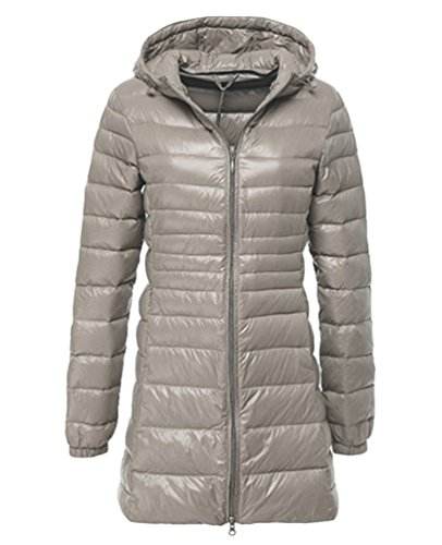 Hoodies Women's Coats Ultralight Long Winter Long Gray Outwear Packable LvRao Down Jackets Quilted Sleeve Padded BOqRFF1