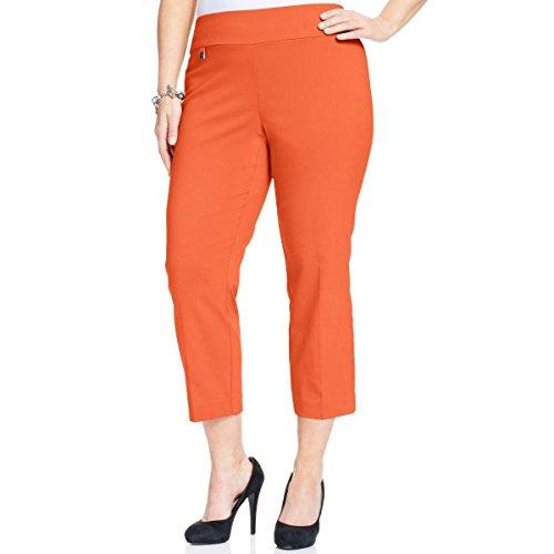 Alfani Womens Plus Tummy Control Casual Capri Pants Orange 18W from Alfani