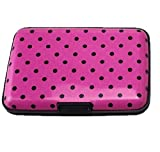 Yueton Aluminum Wallets - Rfid Safe Card Guard Aluminum Compact Card Holder- Prints Available Hot Pink Polka Dots