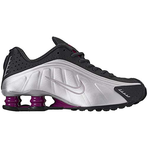 Nike Womens Shox R4 Synthetic Anthracite True Berry Metallic Silver Black Trainers 7 US (Womans Shox Nike Sneakers)