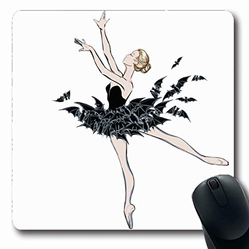 Ahawoso Mousepads Fairy Artistic Ballerina Fantasy Dress Bats Music Ballet Sketch Bad Princess Dancer Design Hair Oblong Shape 7.9 x 9.5 Inches Non-Slip Gaming Mouse Pad Rubber Oblong Mat ()