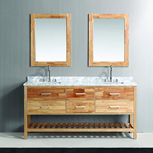 Design Element London Double Sink Vanity Set, 72-Inch, Oak Finish